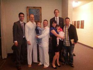 Milt and family at his baptism
